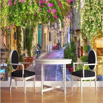 beibehang photo wallpaper Custom 3D Continental streetscape sofa flowers landscape extends bedroom space wall mural wall paper