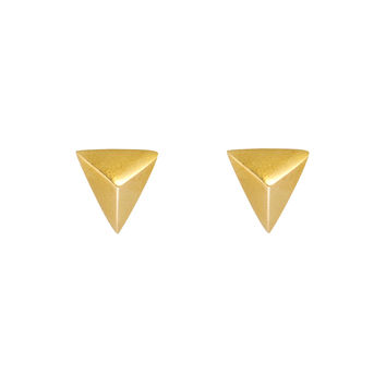 Geo Brass Stud Earrings