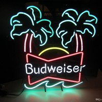 Budweiser Palm Tress Neon Sign Real Neon Light