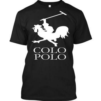 'Colo Polo Game Chicken Running' Funny Slogan Men Women Unisex T Shirt Top Tee (105) B