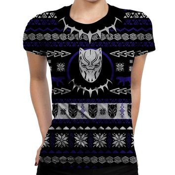 Black Panther Christmas Womens T-Shirt