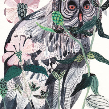 Grey Owl and Zinnias - Archival Print