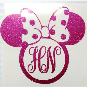 "3"", 4"" 5"" 8"" Disney mini mouse Stickers with personalize initials"