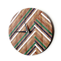 Modern Wall Clock, Geometric Decor, Faux Wood Design, Ready to Ship, Decor and Housewares, Home and Living, Home Decor, Wall Clocks