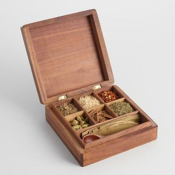 Carved Wood Thai Spice Gift Box 7 Piece