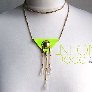 Yellow neon necklace. Long art deco neon necklace. Long leather chain neon statement necklace for Summer 2012.