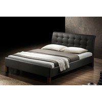 Queen size Modern Dark Brown Upholstered Platform Bed with Curved Headboard