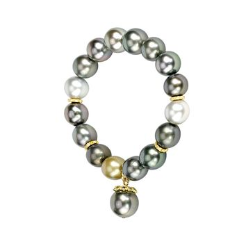 0.68ct Diamonds in Tahitian Pearls 18K Spacers Stretch Bracelet 6.5""