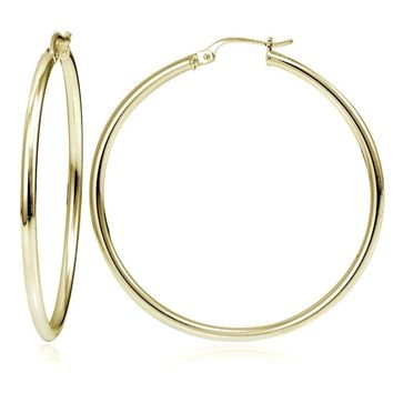 Gold Tone over Sterling Silver 2mm High Polished Round Hoop Earrings, 50mm