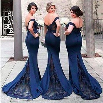 2017 Sexy Navy Blue Mermaid Bridesmaid Dress With Court Train Long Prom Gowns Plus Size Honor Of Maid Dress Double V-neck