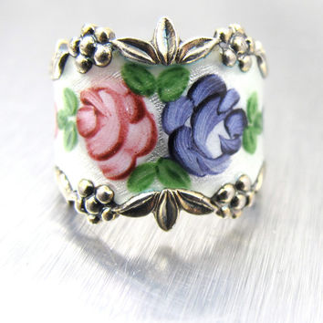 Vintage Guilloche Enamel Cigar Band Ring Sterling Silver ESPO Ring Flowers Roses