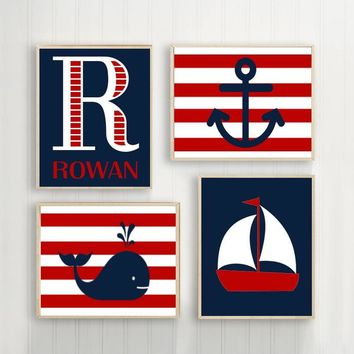 NAUTICAL Nursery Wall Art, Nautical Canvas or Print Sailboat Whale Anchor, Baby Boy Nursery Decor, Red Navy, Set of 4 Crib Decor Wall Decor