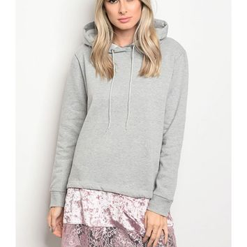 Long Sleeve Pullover Lace and Velvet Trim Details Hood Tunic Sweater