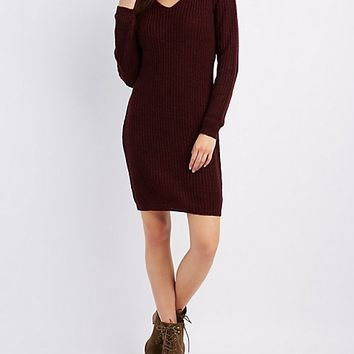 Mock Neck Cut-Out Sweater Dress