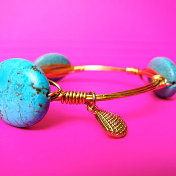 Ships Free! Big Flat Round Natural Turquoise Stones Bangle Bracelet (Inspired by the Popular Bourbon and Bowties) - grad gift, birthday