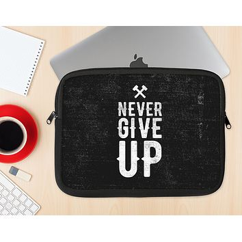 "The ""Never Give Up"" Mens Ink-Fuzed NeoPrene MacBook Laptop Sleeve"