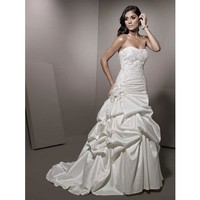 A-line taffeta sleeveless bridal gown style 0bg00218 - $402| weddingdressbee.com