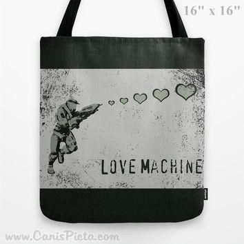 Halo Valentine's Day 13x13 Graphic Tote Bag Master Chief Helmet Spartan Armor Him Grey