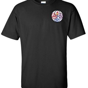 York Rite T Shirt Embroidered Masonic Logoz USA
