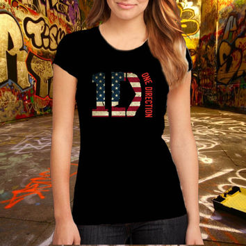 One Direction Flag Motive T Shirt Printed T Shirt, Women T Shirt, (Various Color Available)