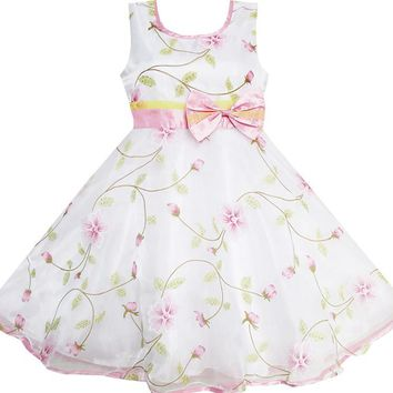 Girls Dress Flower Leaves Wedding White Pageant Bridesmaid Child Clothing 2018 Summer Princess Party Dresses Clothes Size 4-12
