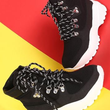Round Toe Lace Up Platform Sneaker Ankle Boots