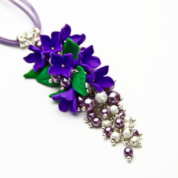 Pendant purple polymer clay flower, pendant with flowers, purple pendant, flower pendant, jewelry, pendant for women