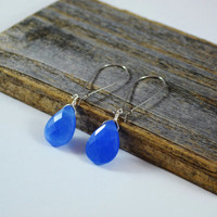 Blue Chalcedony earrings, teardrop earrings, faceted gemstone, Kidney wire earrings, jewelry handmade, semi precious earrings, light blue
