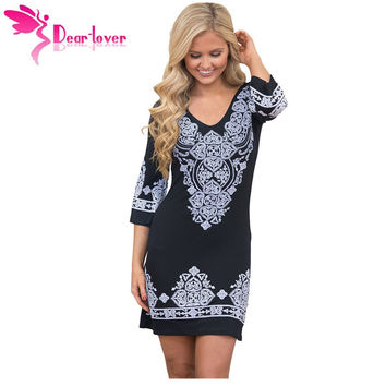Dear-Lover Boho Dresses Vintage Tunic Summer Beach Style Women Black Retro Tribal Pattern Short Dress Hem Vestido Casual LC22965