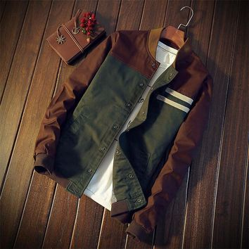 Trendy Casual Teens Jacket Green Jacket Men Turn-down Collar Long Sleeve Tactical Winter Male Bomber Jacket Military Mens Coat 5XL AT_94_13