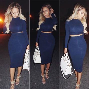 FASHION TWO PIECE BLUE DRESS
