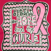 Southern Chics Spread the Hope Find the Cure Breast Cancer Chevron Pink Ribbon Hot Pink Girlie Bright T Shirt
