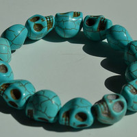 Turqouise Day of the Dead Skull Bracelet (Dia De Los Muertos - All Saints Day)