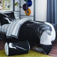 Boy Black White Guitar Rock Music Full Comforter Set (8pc Bed in a Bag)