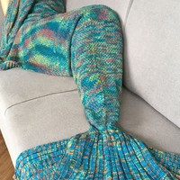 Crochet Knitted Super Soft Mermaid Tail Shape Blanket For Adult