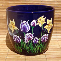 Hand Painted Blue Flowerpot With Tulips And Daffodils