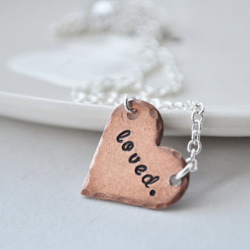 $29.00 Loved Hand Stamped Copper Heart Necklace by jessicaNdesigns