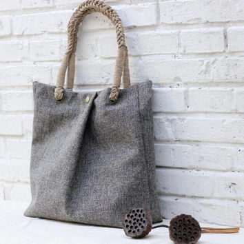 SimpleWind-Original Handmade Bag-Casual Canvas Bag-Hand-Woven Bag-Retro Canvas Bag-Grey Tote Bag-Canvas Shoulder Bag for Women