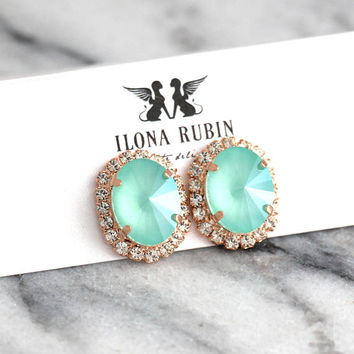 Mint Earrings, Bridal Mint Earrings, Mint Opal Earrings, Mint Swarovski Stud Earrings, Bridesmaids Earrings, Mint Studs, Christmas Earrings