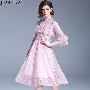 Sequins Beading Lace Dress 2018 New Fashion Summer Style Women Flare Sleeve Ruffles Slim Casual Office Party Dress Vestidos