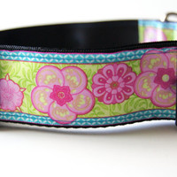 Pink Flower Dog Collar Adjustable Sizes M, L, XL)