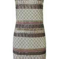 Strapless Aztec Mini Dress Featuring Sequin and Bead Detail