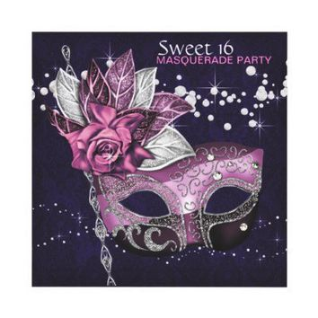 Pink Purple Sweet 16 Masquerade Party Personalized Invitation from Zazzle.com