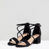 New Look Low Block Cross Strap Sandal at asos.com