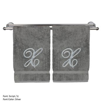 Monogrammed Hand Towel, Personalized Gift, 16 x 30 Inches - Set of 2 - Silver Embroidered Towel - Extra Absorbent 100% Turkish Cotton- Soft Terry Finish - For Bathroom, Kitchen and Spa- Script X Gray