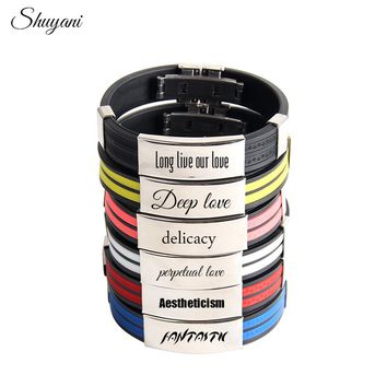 Colorful Silicone Rubber Customized Engrave ID Stainless Steel Bracelets for Couple Punk Style Personalized Logo Bangle