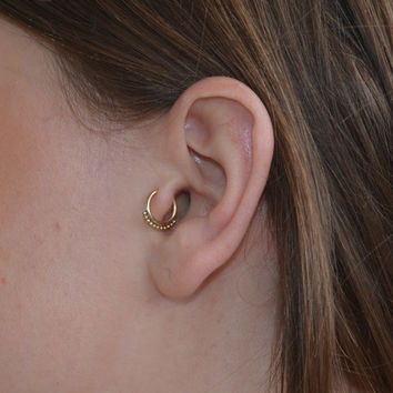 Tragus Ring - 7mm Nose Hoop Earring - Gold Nose Ring, cartilage,helix piercing 16g stud 16 gauge jewelry