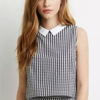 Lapel Collar Plaid Sleeveless Blouse