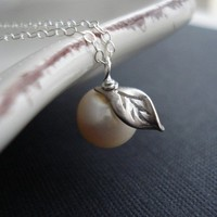 Little Apple Pearl Sterling Silver Necklace by AnechkasJewelry