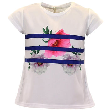 Fun&Fun - Girls Ribbon Flower Short Sleeve Summer T-Shirt, White